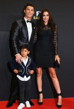RUSSIAN SPORTS ILLUSTRATED MODEL IRINA SHAYK AND PORTUGUESE FOOTBALLER CRISTIANO RONALDO WITH HIS SON, CRISTIANO RONALDO JR.