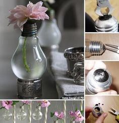 Light bulb vase and many more DIY vase ideas. Vase Crafts, Diy Crafts, Fabric Crafts, Diy Décoration, Easy Diy, Simple Diy, Simple Crafts, Diy Luz, Recycled Light Bulbs