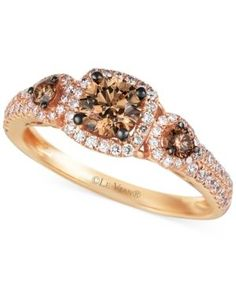 Le Vian Chocolate and White Diamond Three-Stone Ring in 14k Rose Gold (1 ct. t.w.) - Gold