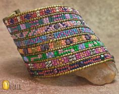 Custom Intricately Beaded Statement Cuff Bracelet by OhlalaJewelry