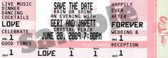 concert ticket save the dates