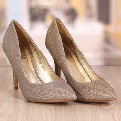 Pantofi Stiletto Rebecca Aurii Cod: 773 Pumps, Heels, Cod, Peep Toe, Fashion, Heel, Moda, Fashion Styles, Pumps Heels