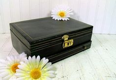 Vintage Large Black Jewelry Box with Gold Trim & by DivineOrders, $53.00