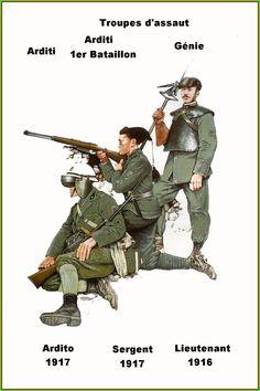 Regio Esercito - ARDITI (truppe d'assalto d'elite) - Ardito, 1917 - Sergente, 1°Btgl. Arditi, 1917 - Tenente del Genio, 1916
