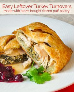 Leftover Turkey Turnovers - so easy to make using frozen puff pastry! One of 25 Leftover Turkey Ideas. Some frozen puff pastry plus the leftovers from a roast turkey or chicken dinner combine in these easy to make turnovers. Rock Recipes, New Recipes, Cooking Recipes, Canadian Recipes, Recipies, Vegan Recipes, Favorite Recipes, Thanksgiving Recipes, Holiday Recipes