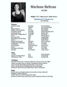 A Good Example Of A Womanu0027s Acting Resume