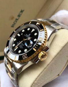 #ROLEX  Rolex Submariner Stainless Steel Yellow Gold Watch Diamond Dial 116613 Rolex Watches For Men, Luxury Watches For Men, Men's Watches, Rolex Submariner Gold, Diesel, Buy Rolex, Guy Gifts, Luxury Watch Brands, Men Watch