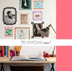 black washi tape wall frames - Google Search