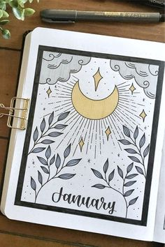 Check out the 30 best January BULLET JOURNAL monthly cover ideas for inspiration! Bullet Journal School, Bullet Journal Inspo, January Bullet Journal, Bullet Journal Cover Ideas, Bullet Journal Lettering Ideas, Bullet Journal Notebook, Bullet Journal Aesthetic, Bullet Journal Layout, Bullet Journal Ideas Pages