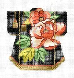 Lee Peony Tassel Oriental Petite Kimono Handpainted Needlepoint Canvas
