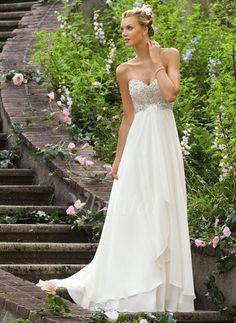 Brautkleider - $169.48 - Empire-Linie Trägerlos Herzausschnitt Sweep/Pinsel zug Chiffon Brautkleid mit Rüschen Perlen verziert (0025055911)