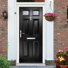 External Virtuoso Carlton Two Savona Composite Door, Shown in Black. #compositedoor #frontdoor #securedoor