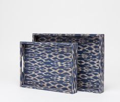 Set of two patterned Ikat trays in blue and white. Traditional woven Tinalak tapestry covers the Doreen tray set. Beautiful Soup, Ad Hoc, Wedding Timeline, Made Goods, Plant Decor, Geometric Shapes, Cool Things To Make, Diy Fashion, Decorative Items