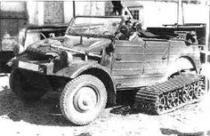 A VW Type 82 Kubelwagen  modified with a tracked system for operation in the snow and mus
