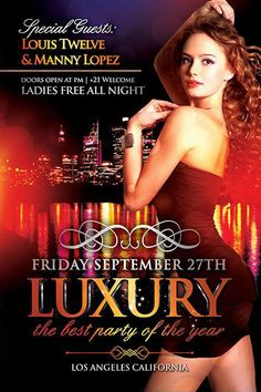 Free Luxury Party Flyer Template - http://www.freepsdflyer.com/free-luxury-party-flyer-template/ Free Luxury Party Flyer Template – Perfect Flyer for promoting your upcoming events. Promote your exclusive classy luxury evenings, ladies nights and other related theme.  #Deluxe, #Diva, #EDM, #Glamorous, #Gold, #HipHop, #Ladies, #Night, #Nightclub, #Party, #Sexy
