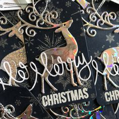 Gift tag - perfect pearls and Penny Black Reindeer Mama Elephant, Simon Says Stamp, Penny Black, Christmas Gift Tags, Lawn Fawn, Reindeer, Pearls, My Favorite Things, Beads