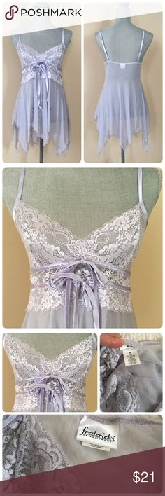 Frederick's 'faerie' nightie💜 💜Feminine & sexy little lavender nightie from Frederick's of Hollywood. Sz M. Lace, satin & sheer mesh, adjustable straps. Price firm. ❌offers ❌trades Please Note: if interested, I have a LARGE collection of intimates/lingerie that I am in the process of listing, it seems that I have/had a shopping problem😆 Frederick's of Hollywood Intimates & Sleepwear