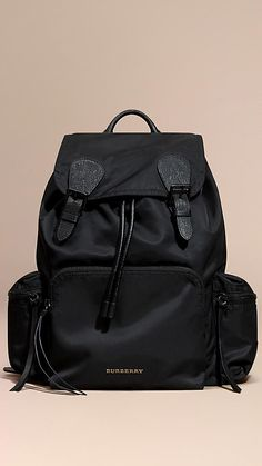 The Large Rucksack in Technical Nylon and Leather in Black - Men f0dd8c90d558