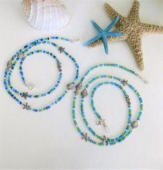 Eyeglass Chain Beaded Eyeglass Necklae Blue Beaded Glasses Nail Polish Flowers, Chains For Sale, Beaded Lanyards, Seed Bead Jewelry, Beach Jewelry, Boho Necklace, Eyeglasses, Jewelry Accessories, Handmade Jewelry