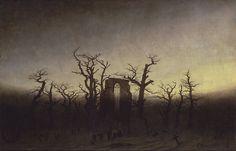 Abbey among Oak Trees, Caspar David Friedrich, 1810, oil on canvas, 171 x 110 cm. Alte Nationalgalerie, Berlin, Germany.