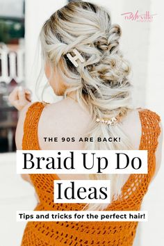 Looking for 90s braids hairstyles with hair clips 90s style? There's nothing cuter than hairstyles you can easily recreate at home! Not to mention, there are easy hairstyles you can add a hair scrunchie to. I'm having flashbacks to middle school with the hair clip trend! It feels very 90's and I'm loving revisiting my childhood years. I rocked a mean hair clip back in the day. I added them to braids in this post. Click here to see the braid up do tutorial on Nashville Wifestyles! #scrunchie