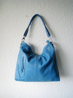 Leather hobo bag  MAX in skyblue  MEDIUM by Adeleshop on Etsy, $158.00