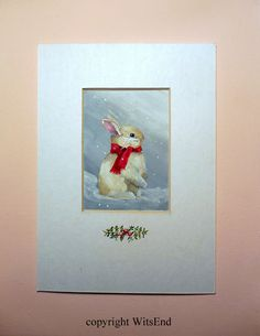 'WARM WINTER WISHES'. Snow Bunny painting original Rabbit ooak ACEO ATC art by 4WitsEnd, via Etsy