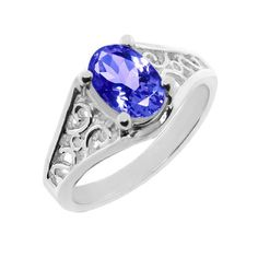 1/2 Ct 6x4mm Oval Tanzanite .925 Sterling Silver Ring (Available In Sizes 5-9)