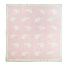 Elephant Stampede Knitted Blanket in Pink - we love this draped over a glider in the nursery! #PNshop