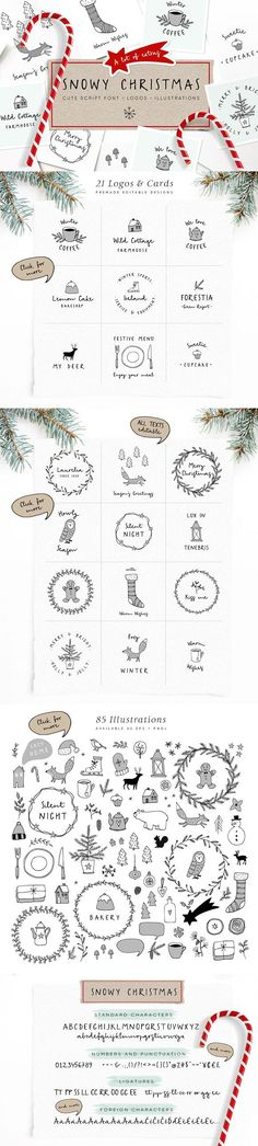 Snowy Christmas script font & logos by Tabita's shop Let me introduce the Snowy Christmas collection - a cute script font with a bunch of winter inspired vector illustrations and pre-designed logos and greeting cards.  #affiliate