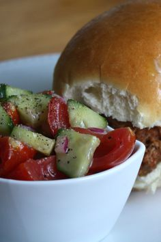 Tomato cucumber salad - nice twist on a classic combo- I will replace the sugar for Splenda or just leave it out.