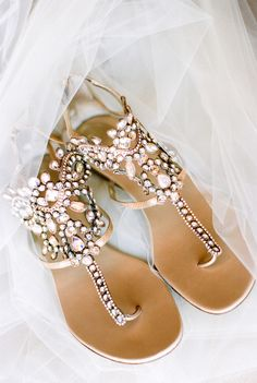 Embellished gladiator sandals for wedding shoes. When you have already picked the right dress for your wedding, a new important issue comes up – wedding shoes. Here are some ideas of easy to match with with, bridal shoes for inspiration Beach Wedding Shoes, Summer Wedding, Beach Shoes, Flat Wedding Shoes, Trendy Wedding, Colorful Wedding Shoes, Beach Sandals, Gold Wedding Flats, Boho Wedding