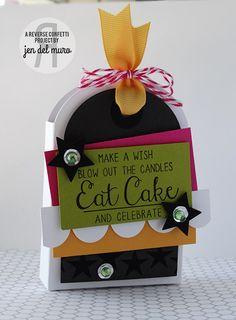 Birthday treat tote by Jen del Muro. Reverse Confetti stamp set: In a Big Way. Confetti Cuts: Tagged Tote. Birthday party favor. Birthday gift wrap.