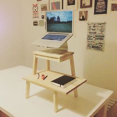 @al_locca's #standingdesk using a BEKVAM step stool and #Macbook stand. It seems rather precarious to me, but I do like the idea of the desk extension on the lower step. #ikeahack