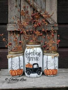 Pot Mason Diy, Mason Jar Crafts, Bottle Crafts, Mason Jar Pumpkin, Fall Mason Jars, Fall Projects, Painted Mason Jars, Chalk Paint Mason Jars, Diy Décoration