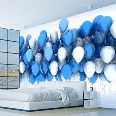 Blue, wall mural, bed, bedroom design