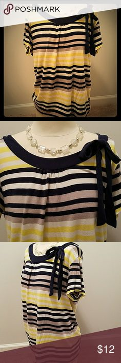 Yessica Nautical Top Size L Nautical striped top has alternating navy, yellow, white, and grey horizontal stripes.  Faux Tie at neckline.  Great for casual attire or Capri Pants.   Smoke free home.  Bundle to save! yessica Tops Tees - Short Sleeve