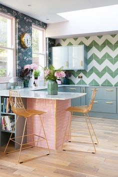 Every Inch of This Colorful Kitchen Remodel Is Charming Favorite Element: The Bert & May pink-tile-clad marble breakfast bar. The tiles are such a delicious shade of pink and I love to perch on my gold Bend Goods counter stool and watch t Home Decor Kitchen, Kitchen Interior, New Kitchen, Kitchen Ideas, Eclectic Kitchen, Decorating Kitchen, Stylish Kitchen, Decorating Games, Kitchen Designs