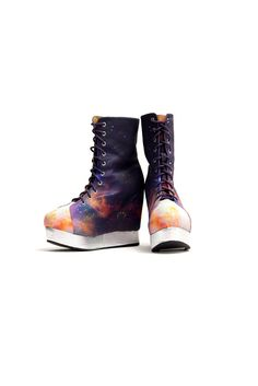 Rainbow Galaxy - Back Off Black Milk x Jeffrey Campbell (Size Sock Shoes, Shoe Boots, Galaxy Shoes, Rainbow Galaxy, Black Milk Clothing, My Black, Color Black, Sky High, Jeffrey Campbell