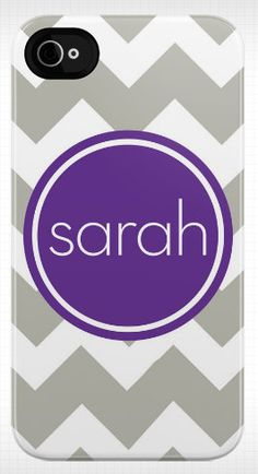 personalized chevron iphone case with name/monogram (silver/purple) $55