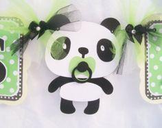 Bandera de niño panda panda bebé ducha por NancysBannerBoutique