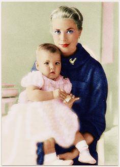 Princess Grace and Princess Caroline of Monaco.