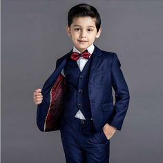 5 Pcs/set Boys Prom Formal Dress Suit