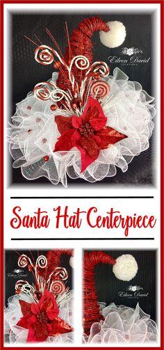 Santa Hat Centerpiece, Santa Hat Table Top Decor, Christmas Table Decor, Santa Hat deco mesh, pom pom