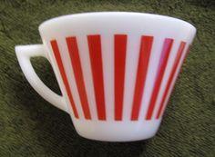 Vintage Hazel Atlas Red Candy Stripe Milk Glass Tea Cup Excellent Condition