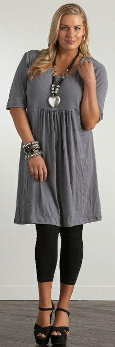 Plus sized women's fashion:gorgeous mini dress and black pant