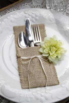 6 - burlap silverware pocket cozy, iphone case, holder, wedding favor…
