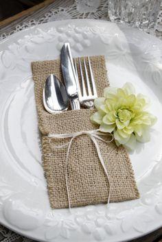 6 - burlap silverware pocket cozy, iphone case, holder, wedding favor extraordinaire. $18.00, via Etsy.