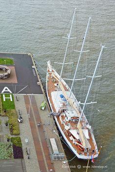 Threemaster De Eendracht, moored at Wilhelminapier, close to Hotel New York, in Rotterdam, the Netherlands
