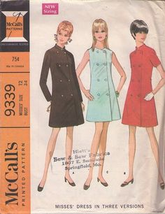 MOMSPatterns Vintage Sewing Patterns - McCall's 9339 Vintage 60's Sewing Pattern MARVELOUS MOD Beatles Militant Look Nehru Collar Double Breasted Coat Dress, 3 GREAT Styles